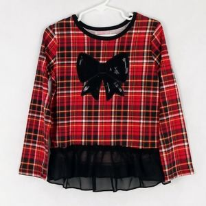 Garanimals Toddler Girls Plaid Top with Bow, 5T